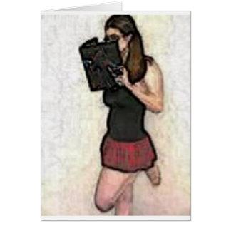 pretty nerdy school girl card