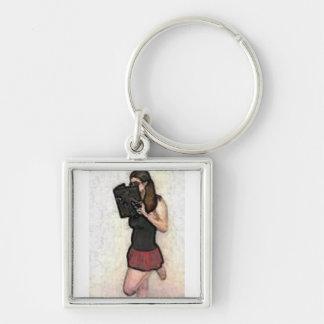 pretty nerdy school girl keychain