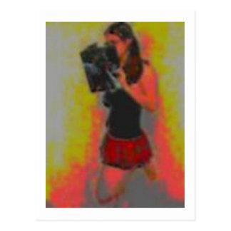 pretty nerdy school girl postcard