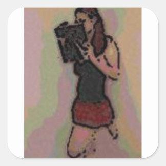 pretty nerdy school girl square sticker