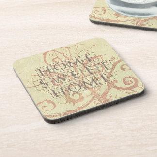 Pretty Neutral Beige Vine Flourish Home Sweet Home Drink Coaster