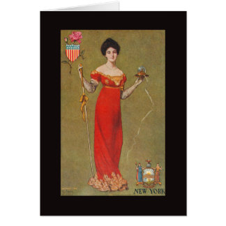Pretty New York Maiden, Woman, Lady, Girl - Early Card