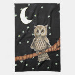 Pretty Night Owl Necklace Moon Stars on Black Hand Towel
