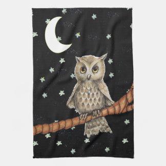 Pretty Night Owl Necklace Moon Stars on Black Hand Towel