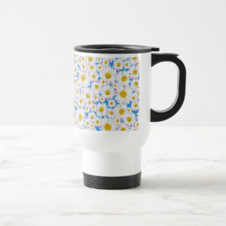 Pretty Non-spill Travel Mug: Ditzy Daisies on Blue