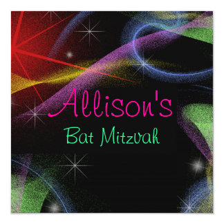Pretty Northern Lights Bat Mitzvah 5.25x5.25 Square Paper Invitation Card