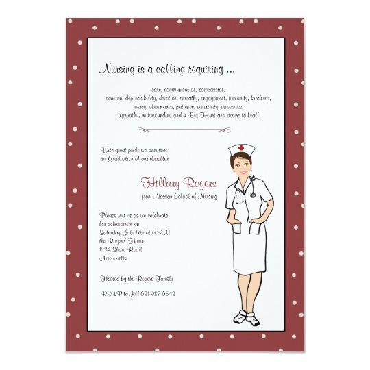 Pretty Nurse Graduation Invitation