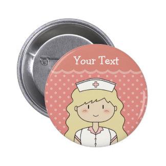 Pretty nurse with wavy hair pinback button