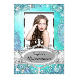 Pretty Ocean Jewel Photo Quinceanera Invitation