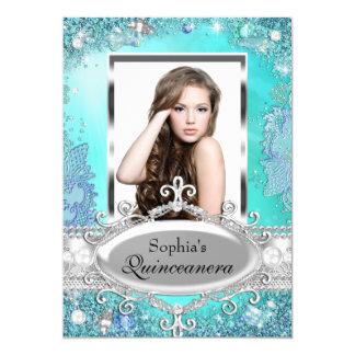 Pretty Ocean Jewel Photo Quinceanera Invitation