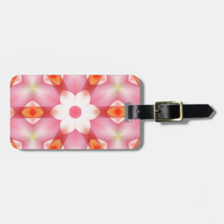Pretty Off-White Flower on Pink Geometric Luggage Tag
