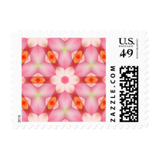 Pretty Off-White Flower on Pink Geometric Postage