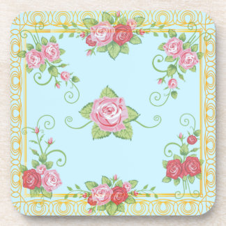Pretty Old Roses Blue Gold Vintage Tile Pattern Coaster