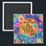 """Pretty One Kind Word Magnet<br><div class=""""desc"""">A colorful and happy touch to any kitchen or school locker. This whimsical and pretty floral quote would cheer anyone up when they see it. The hand drawn illustrated magnet has a nice inspirational message and the bright colors create a fun touch. Give as a gift or keep for yourself....</div>"""