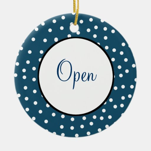 Pretty Open and Closed Sign Double-Sided Ceramic Round Christmas Ornament
