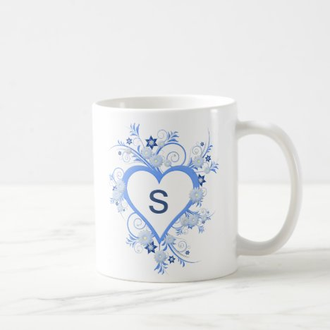 Pretty Open Heart Frame with Flowers and Monogram Coffee Mug
