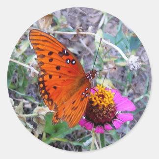 Pretty Orange Butterfly Classic Round Sticker