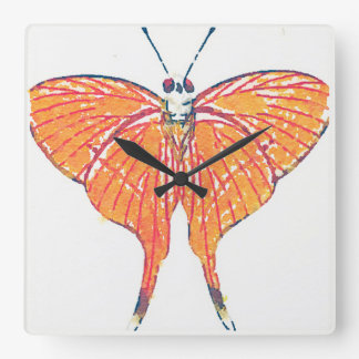 Pretty Orange Butterfly / Moth Watercolor Square Wallclocks