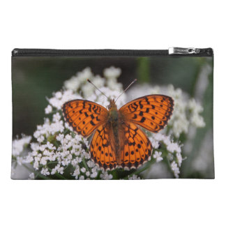 Pretty Orange Butterfly Travel Accessory Bag
