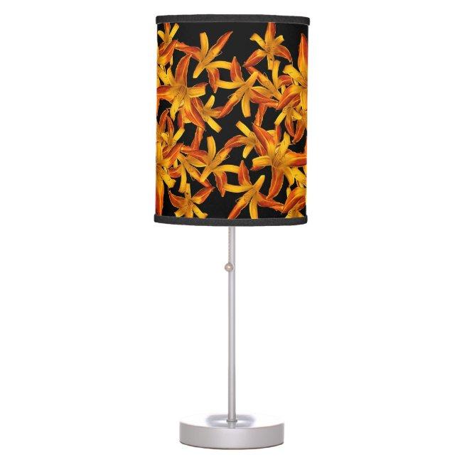 Pretty Orange Daylilies Flower Garden Floral Lamp