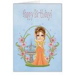 Pretty Orange Faery Pixel Art Greeting Cards