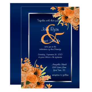 Pretty Orange Flowers on Navy Blue Invitations