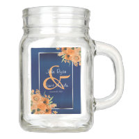 Pretty Orange Flowers on Navy Blue Mason Jar