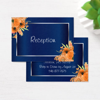 Pretty Orange Flowers on Navy Blue  - Reception Business Card