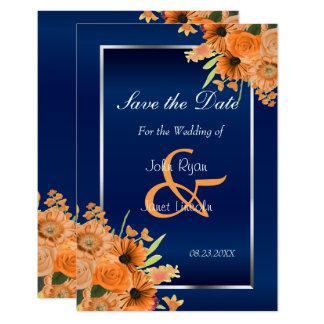 Pretty Orange Flowers on Navy Blue Save The Date Card
