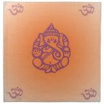 Pretty Orange Ganesh Design Cloth Napkin