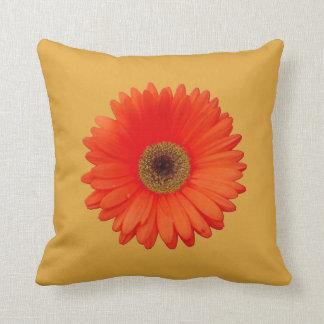 Pretty Orange Gerbera Daisy on Butternut Throw Pillow