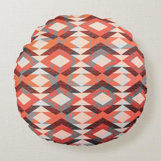Pretty Orange Gray Pink Bohemian Tribal Pattern Round