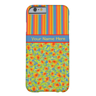 Pretty Orange Marigolds, Stripes iPhone 6 Case