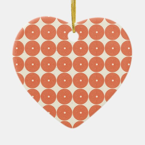 Pretty Orange Melon Circles Textured Disks Pattern Christmas Tree Ornament