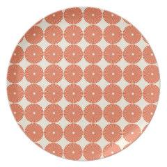 Pretty Orange Melon Circles Textured Disks Pattern Party Plate