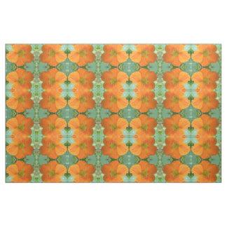 Pretty Orange Nasturtium Flower Floral Patterned Fabric