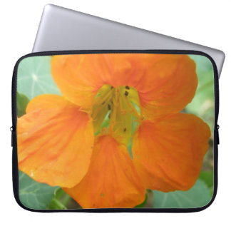 Pretty Orange Nasturtium Flower Laptop Bag