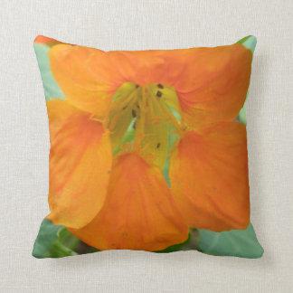 Pretty Orange Nasturtium Flower Pillow