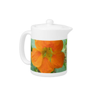 Pretty Orange Nasturtium Flower Teapot