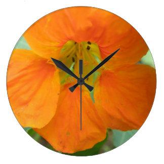 Pretty Orange Nasturtium Flower Wall Clock