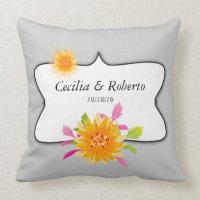 Pretty Orange Pink Floral Frame Monogram Throw Pillow