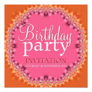Pretty Orange Pink Lace Birthday Party Invitations