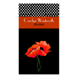 Pretty Orange Poppies and Polka Dot Business Card
