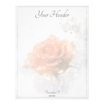 Pretty Orange Rose. Painting. Add text. Letterhead