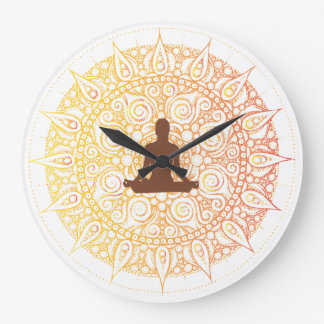 Pretty Orange/White Oriental yoga Design Wallclocks