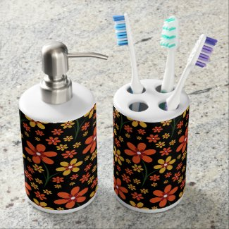 Pretty Orange Yellow Floral Pattern On Black Toothbrush Holders
