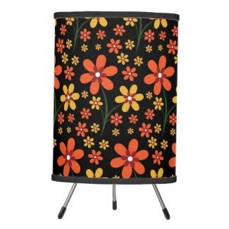 Pretty Orange Yellow Flowers Black Floral Pattern