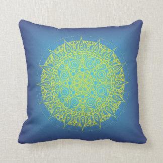 Pretty Oriental Blue/Yellow Design Pillow