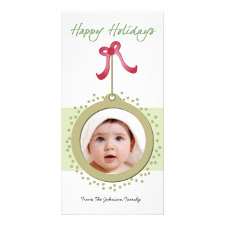 Pretty Ornament with red bow holiday photocard Card