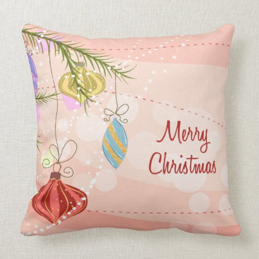 Pretty Ornaments Pink Christmas Pillow